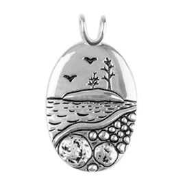 Two-Tone Overlay Sterling Silver Nature-Inspired Carved Pendant, Silver wt. 5.43 Gms