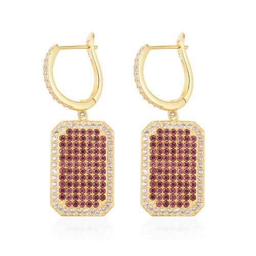Rhodolite Garnet (Rnd), Natural White Cambodian Zircon Drop Earrings (with Clasp) in Rhodium Overlay Sterling Silver 3.14 Ct, Silver wt 8.67 Gms