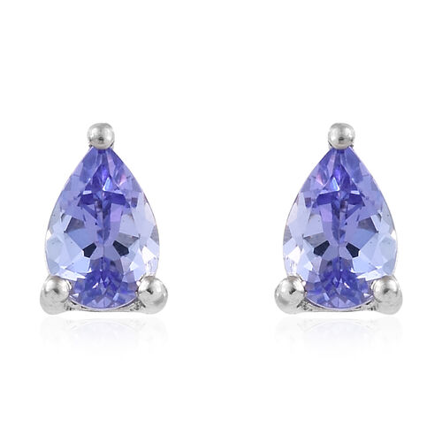 Tanzanite (Pear) Stud Earrings (with Push Back) in Platinum Overlay Sterling Silver 0.750 Ct.