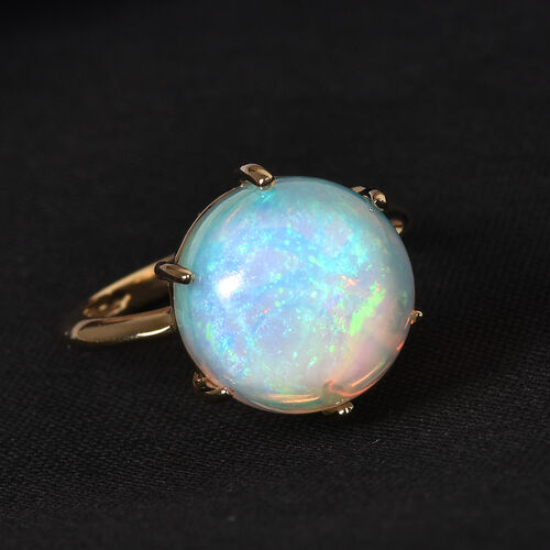 Close out Deal- 14K Yellow Gold AA Ethiopian Welo Opal Solitaire Ring 4.75 Ct.