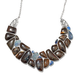Opal Rock and Opal Double Statement Necklace in Silver 64.78 Grams 18 with 1 inch Extender