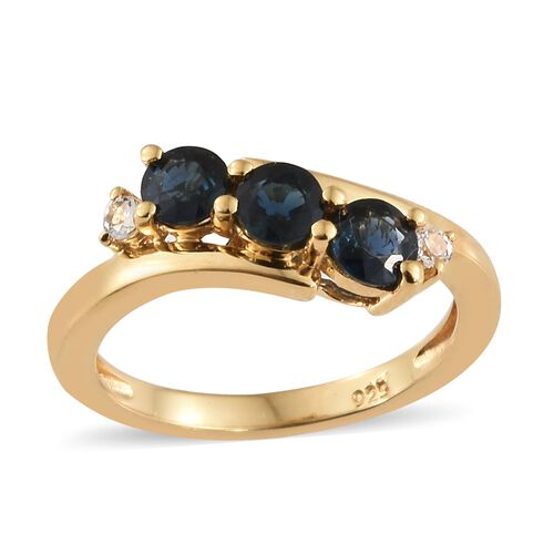 WEBEX- Kanchanaburi Blue Sapphire (Rnd), White Topaz Three Stone Ring in 14K Gold Overlay Sterling Silver 1.000  Ct.