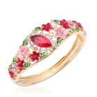 Simulated Ruby and Multi Colour Austrian Crystal Bangle (Size 6.5) in Gold Tone