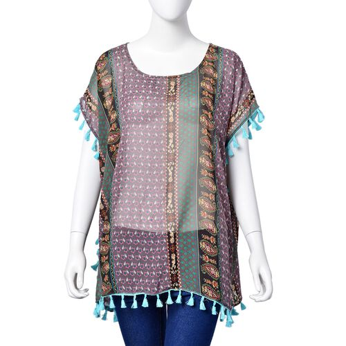 Purple, Green and Multi Colour Floral and Paisley Pattern Poncho with Tassels (Size 70X65 Cm)