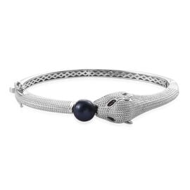 Freshwater Peacock Pearl and Boi Ploi Black Spinel Leopard Head Bangle Size 7.5 in Silver Plated
