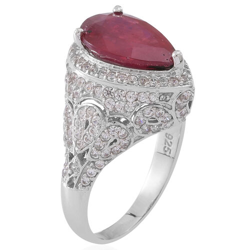 African Ruby (Pear 5.75 Ct), Burmese Ruby and Natural Cambodian White Zircon Ring in Rhodium Plated Sterling Silver 7.000 Ct.