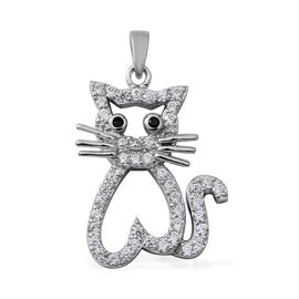 ELANZA  Simulated Diamond (Rnd), Boi Ploi Black Spinel Cat Pendant in Rhodium Overlay Sterling Silver