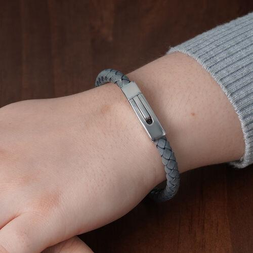 "Personalise Engravable Grey Leather Bracelet 8"", Steel"