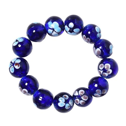 Millefiori Collection- Navy Colour Murano Style Glass Stretchable Beads Bracelet (Size 7)