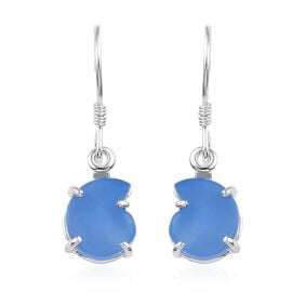 5 Carat Namibian Blue Chalcedony Solitaire Drop Earrings in Sterling Silver