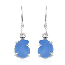 Namibian Blue Chalcedony Hook Earrings in Sterling Silver 5.00 Ct
