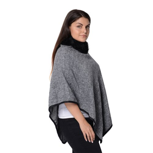 One Time Close Out Deal - Pied De Poule Pattern Winter Poncho with Faux Fur Collar (Size 83x97 Cm) - Grey and Black