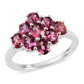 2.25 Ct Lotus Garnet Cluster Ring in Silver
