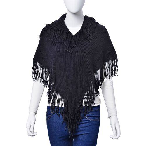 Black Colour Poncho with Tassels and Wine Colour Floral Pattern Scarf with Tassels (Free Size)