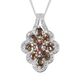 2.39 Ct Brazilian Andalusite and Zircon Cluster Floral Pendant With Chain in Rhodium Plated Silver