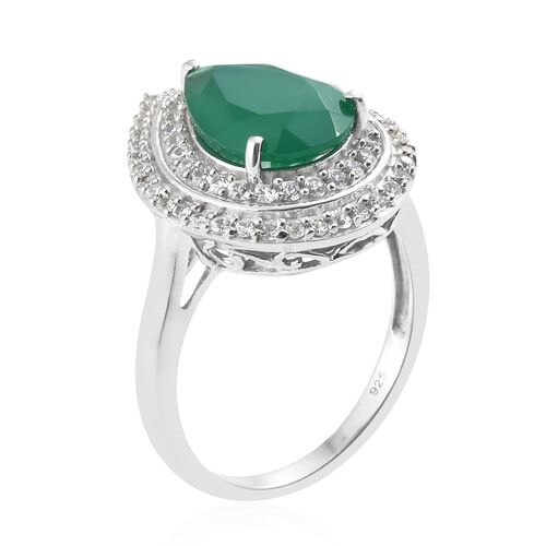 Verde Onyx (Pear 14x10 MM 4.40 Ct), Natural Cambodian Zircon Ring in Platinum Overlay Sterling Silver 5.000 Ct.