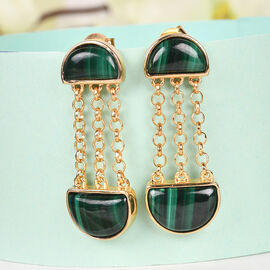 Sundays Child Malachite Dangling Earrings (with Push Back) in 14K Gold Overlay Sterling Silver 10.51 Ct, Gold Wt. 5 Gms.