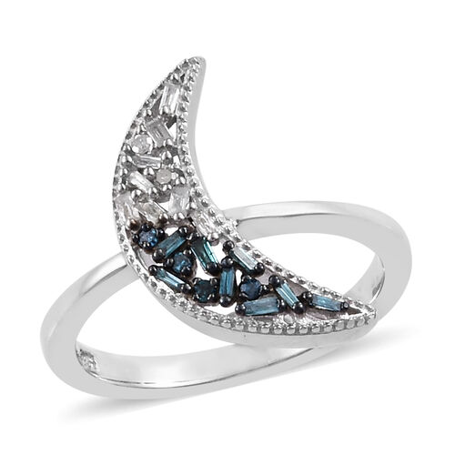 Blue and White Diamond (Bgt) Half Moon Ring in Platinum Overlay Sterling Silver 0.200 Ct.