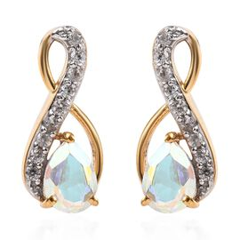 Mercury Mystic Coated Topaz (1.50 Ct),Cambodian Zircon 14K Gold Overlay Sterling Silver Earring  2.0