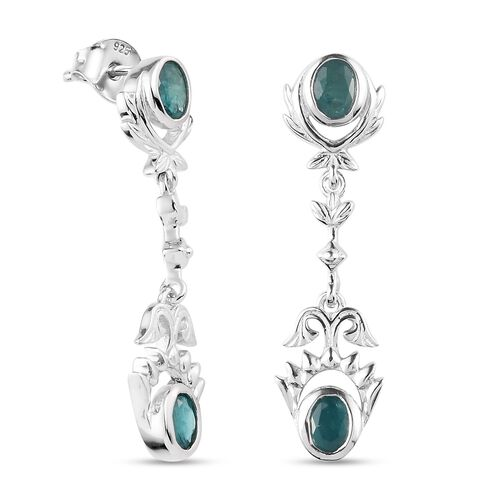 AAA Grandidierite Dangling EarringS (with Push Back) in Platinum Overlay Sterling Silver 1.34 Ct.
