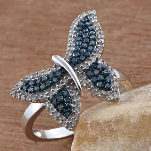Blue Diamond (Rnd), White Diamond Butterfly Ring in Platinum Overlay Sterling Silver 0.755 Ct.