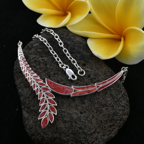Royal Bali Collection - Coral Feather Necklace (Size 20) in Sterling Silver, Silver wt 7.48 Gms.