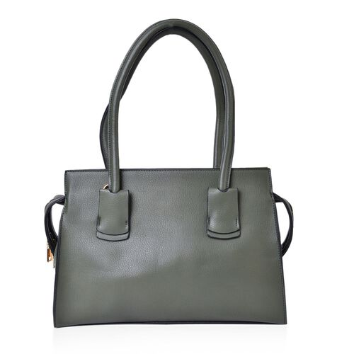 Dark Green Golden T-Bar Tote Bag with Adjustable Shoulder Strap (Size 36X35X26X10 Cm)