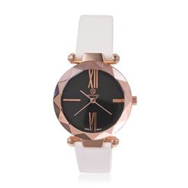 STRADA Japanese Movement Water Resistant Watch in Rose Gold Tone with White Colour Strap.