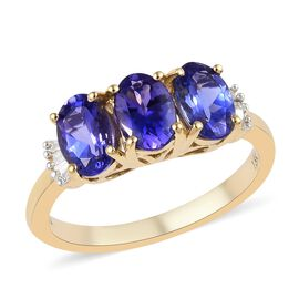 ILIANA 1.95 Ct AAA Tanzanite and Diamond Trilogy Ring in 18K Gold 3 Grams