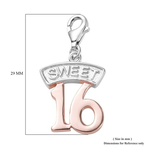 Rose Gold and Platinum Overlay Sterling Silver Sweet 16 Charm