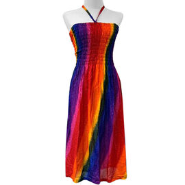 Free Size Red and Multicolour Dress (Size 54x95 Cm)