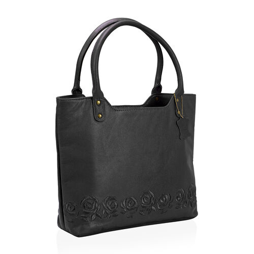 Premium Super Soft 100% Genuine Leather Black Large Tote Handbag with RFID Blocker and Embroidery Rose (Size 44x31x10)
