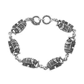 Royal Bali Collection Sterling Silver Elephant Link Bracelet (Size 7-7.5), Silver wt 11.60 Gms