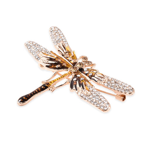 Simulated Champagne Diamond and White Austrian Crystal Enamelled Dragonfly Brooch in Gold Tone