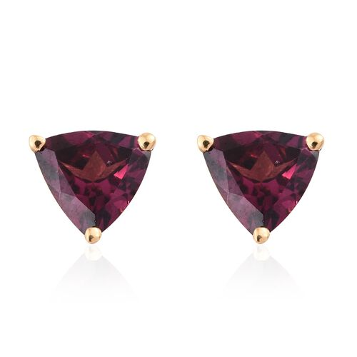 1.75 Ct Purple Garnet Silver Solitaire Stud Earrings (with Push Back) in Gold Overlay
