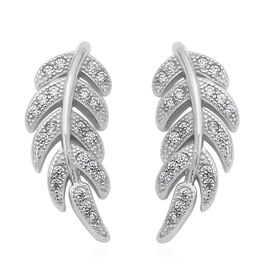ELANZA Simulated Diamond (Rnd) Leaf Earrings (with Push Back) in Rhodium Overlay Sterling Silver