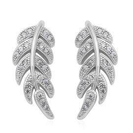 ELANZA Simulated Diamond Leaf Earrings in Rhodium Plated Silver