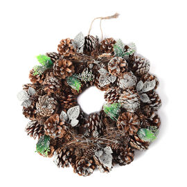 Christmas Wreath - Pinecone and Leaf (Size 38x38cm)