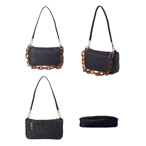 Water Resistant Crossbody Bag with Leopard Chain ( Shoulder Strap and Crossbody Strap )