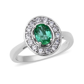 1.47 Ct Zambian Emerald and Zircon Halo Ring in Rhodium Plated Silver