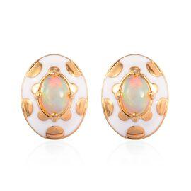 Ethiopian Welo Opal Enamelled Stud Earrings (with Push Back) in 14K Gold Overlay Sterling Silver 1.2