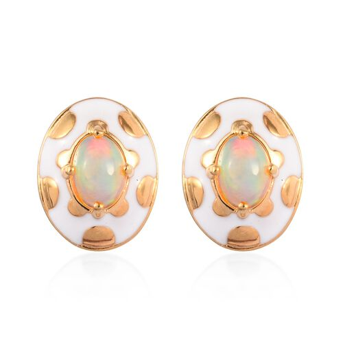 Ethiopian Welo Opal Enamelled Stud Earrings (with Push Back) in 14K Gold Overlay Sterling Silver 1.2