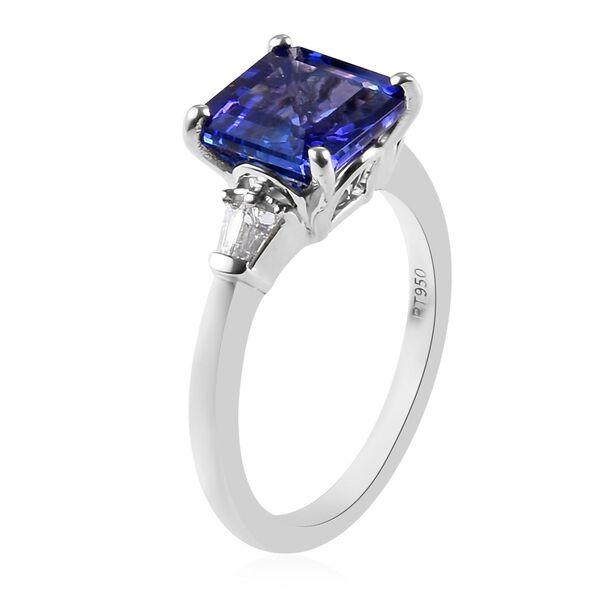 RHAPSODY 950 Platinum AAAA Tanzanite (Asscher Cut 8x8mm), Diamond Ring 3.15 Ct.