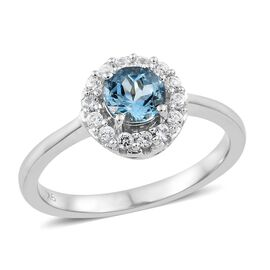9K White Gold AA Santa Maria Aquamarine (Rnd), Natural Cambodian Zircon Ring 0.850 Ct.