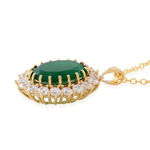 Verde Onyx (Ovl 14.00 Ct), Natural White Cambodian Zircon Pendant with Chain (Size 30) in 14K Gold Overlay Sterling Silver 18.500 Ct.