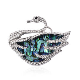 Abalone Shell and Black and White Austrian Crystal Swan Brooch