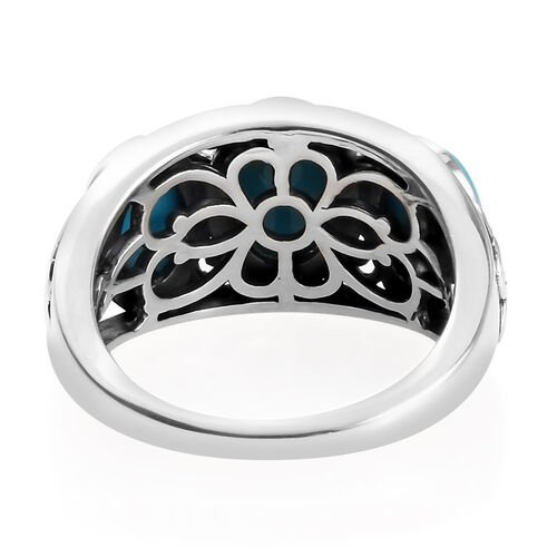 Arizona Sleeping Beauty Turquoise (Ovl) Three Stone Ring in Sterling Silver 3.145 Ct.