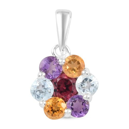 Citrine, Bolivian Amethyst, Skyblue Topaz and Rose Garnet  Floral Pendant in Sterling Silver 1.52 Ct