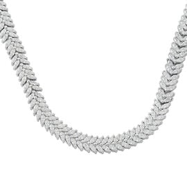 ELANZA Simulated White Diamond Floral Necklace in Rhodium Plated Silver 36.10 Grams 17 Inch