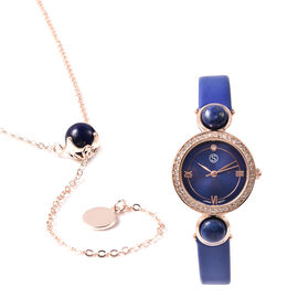 2 Piece Set - STRADA Japanese Movement Lapis Lazuli and White Austrian Crystal Studded Water Resista